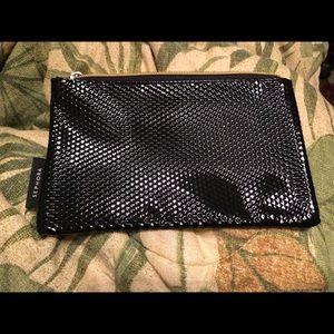 Black SEPHORA shiny makeup cosmetics bag NEW